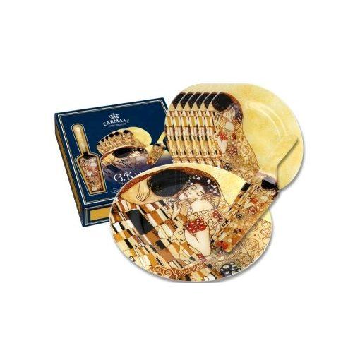 Klimt üveg süteményes szett, Csók, 8 részes (198-7100)