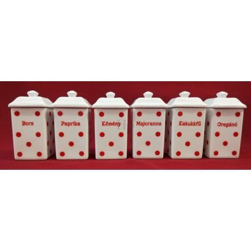 Hollóházi 226 Piros pöttyös fűszertartó, kicsi 6 részes, Panni sorozat