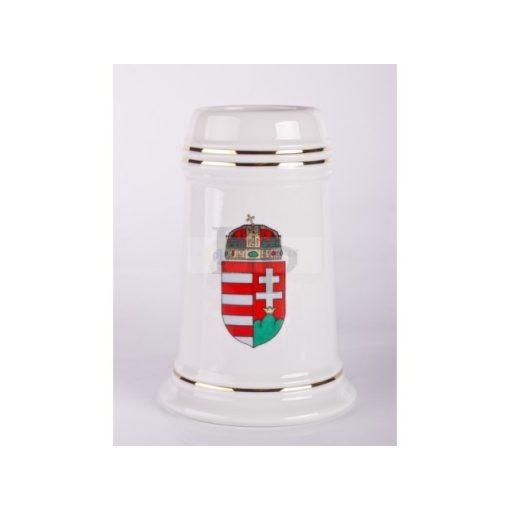 Hollóházi 272 Sörös korsó, címeres, 16,5 cm