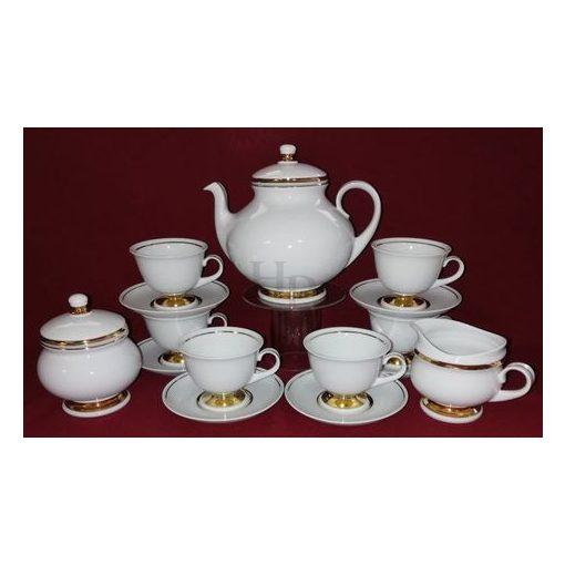 Hollóházi Teás készlet, Arany csík, 15 részes