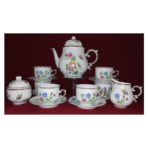 Hollóházi Teás készlet, Hortenzia, 15 részes