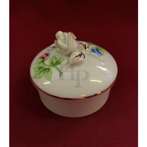 Hollóházi 650/A Bonbonier, rózsás, 7,5 cm, Hortenzia