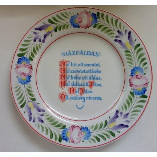 Hollóházi Kézzel festett, 312 Házi áldás 2441 20,5 cm