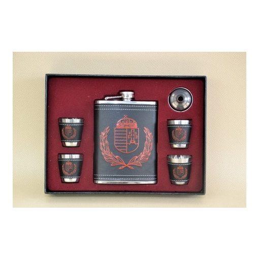 Fém laposüveg szett, sötétbarna, címeres, 6 részes