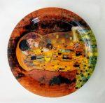 Klimt üvegtányér, Csók, kerek, 37,5 cm