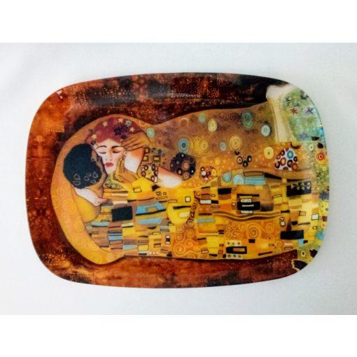 Klimt üvegtál, Csók, szögletes, 35x25 cm