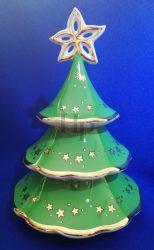 Karácsonyfa gyertyatartó, Zöld, 3 részes